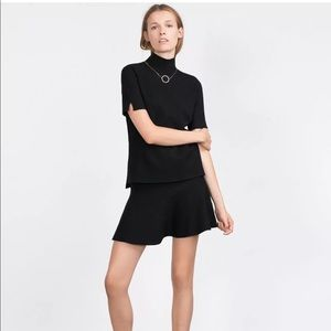 NWT Zara Knit Fluted Skater Skirt Black Small